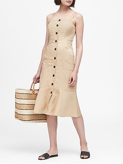 Linen-Blend Button-Front Dress