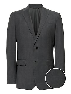 Slim Italian Wool Plaid Suit Jacket
