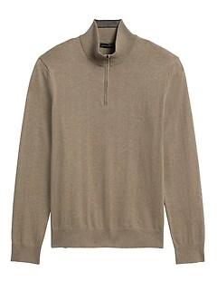 Cotton Cashmere Half-Zip Sweater
