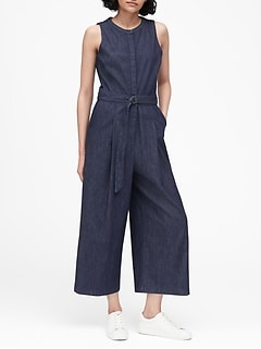 Petite Denim Wide-Leg Cropped Jumpsuit