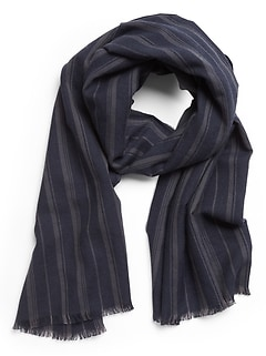 Stripe Cotton-Wool Scarf