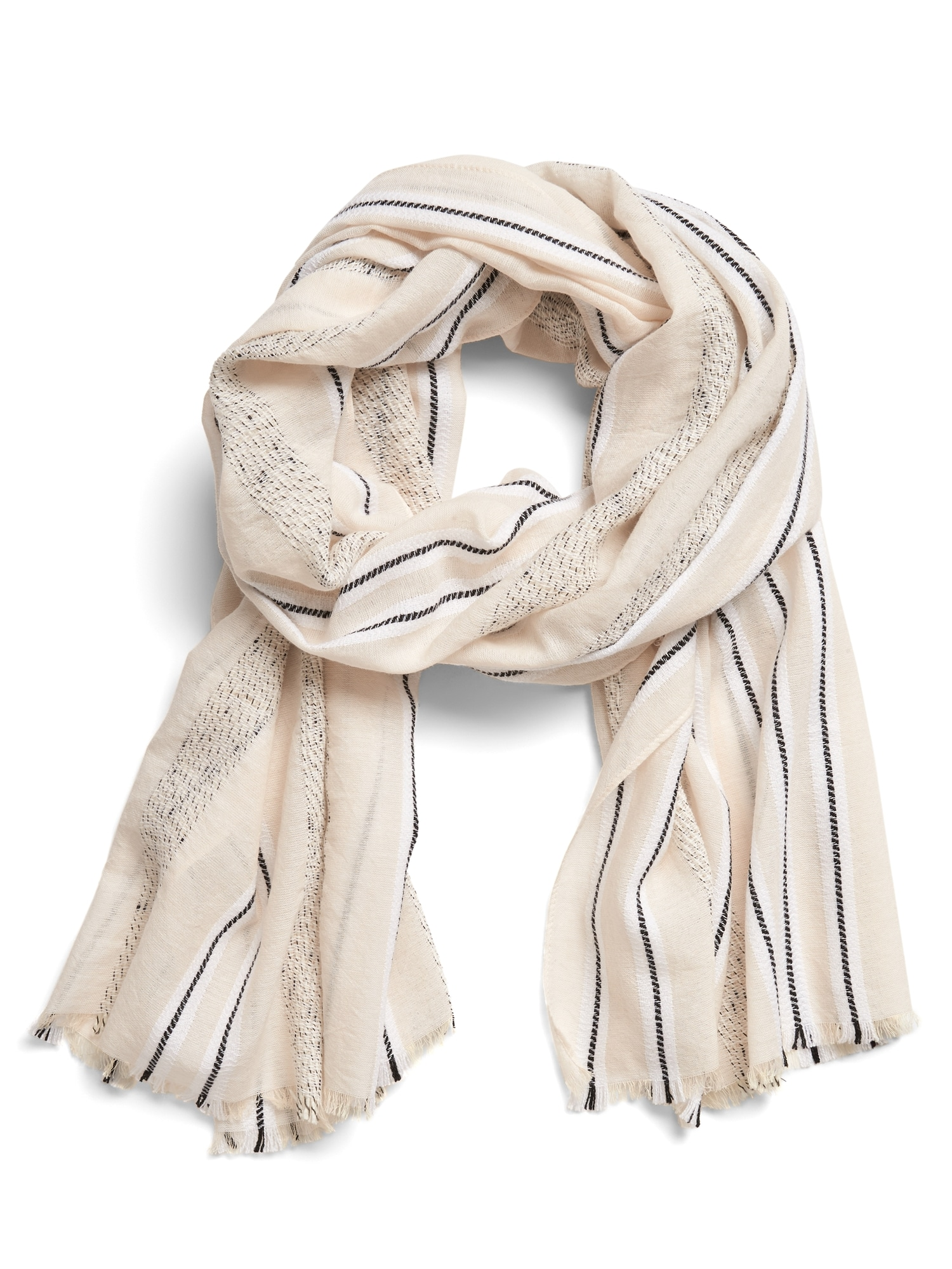 Cream Stripe Scarf by Banana Repbulic