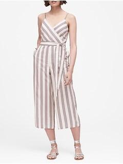 Petite Linen-Cotton Cropped Jumpsuit
