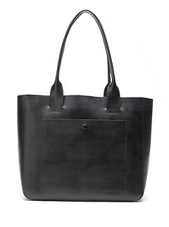 Leather Large East-West Tote