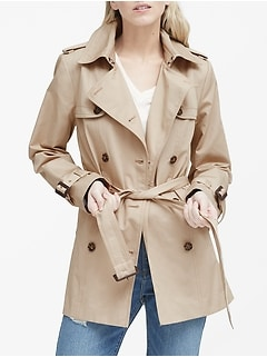 Water-Resistant Short Trench Coat