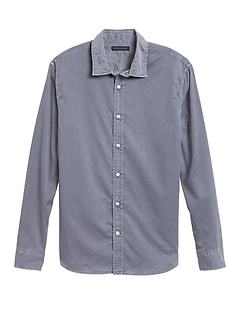 Untucked Standard-Fit Cotton Twill Shirt