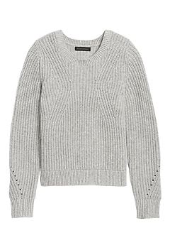 Petite Chunky Pointelle Cropped Sweater