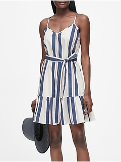 Petite Stripe Poplin Mini Dress