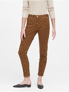 Petite Mid-Rise Skinny Leopard Jean