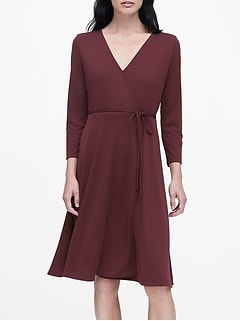 Petite Wrinkle-Resistant Wrap Dress