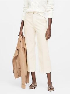 Petite Slim Wide-Leg Corduroy Cropped Pant