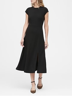 Soft Ponte Midi Dress with Slit
