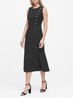 Petite Buttoned Midi Dress