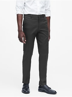 Pantalon uni extensible en coton sans repassage, coupe étroite