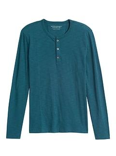 Cotton Slub Henley T-Shirt