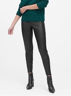 Pantalon en cuir végétalien, coupe legging Devon, Petite
