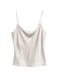 Washable Silk Cowl-Neck Camisole