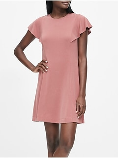 Petite Sandwash Modal Flutter-Sleeve Dress