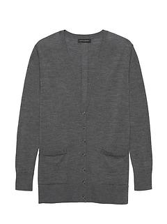 Petite Washable Merino Boyfriend Cardigan Sweater