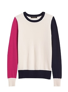 Petite Cashmere Color-Blocked Sweater