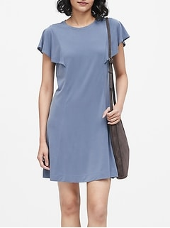 Petite Sandwash Modal Flutter-Sleeve Dress
