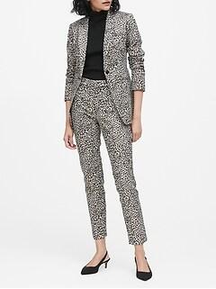 Long and Lean-Fit Metallic Leopard Blazer