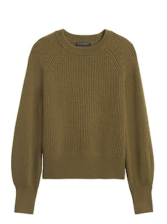 Cashmere Blouson-Sleeve Sweater
