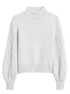 Cashmere Cable-Sleeve Sweater
