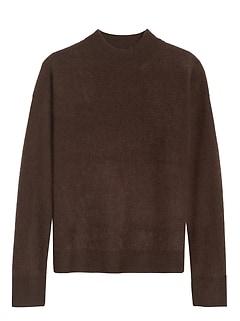 Brushed Cashmere Mock-Neck Sweater