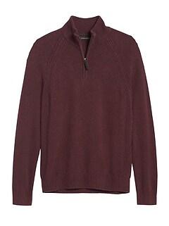Italian Merino-Blend Half-Zip Sweater