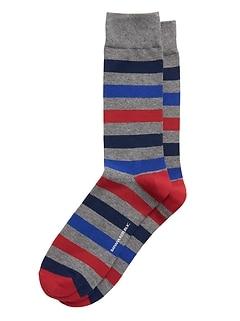 Chaussettes à rayures de rugby multicolores