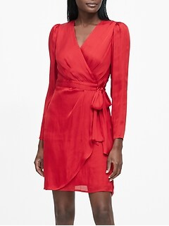Puff-Sleeve Wrap Dress