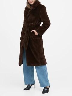 Petite Faux Fur Long Coat