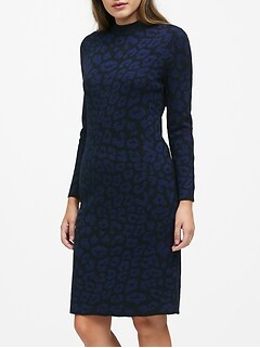 Metallic Leopard Sweater Dress