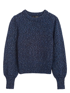 Petite Metallic Puff-Sleeve Sweater