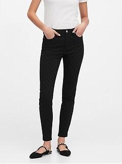 Mid-Rise Skinny Velvet Dot Jean