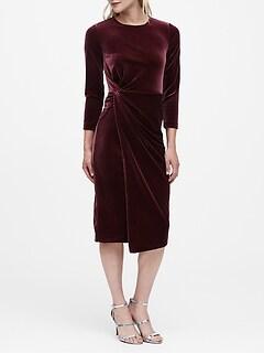Petite Velvet Twisted Dress