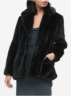 Petite Faux Fur Short Coat