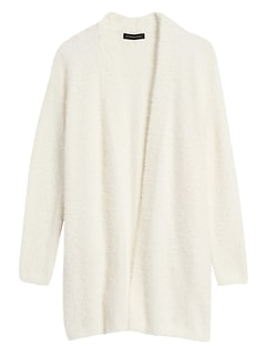 Petite Fuzzy Long Cardigan Sweater