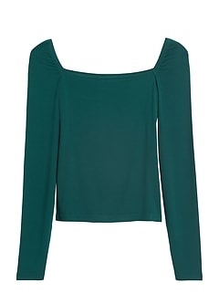 Ribbed Square-Neck Cropped Top