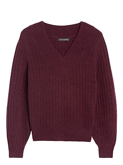 Petite Aire Ribbed V-Neck Sweater