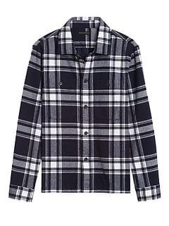 Slim-Fit Flannel Shirt Jacket