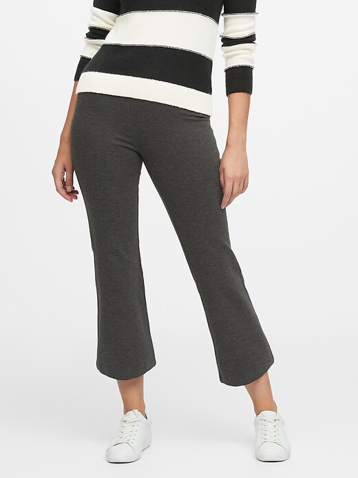 High-Rise Crop Flare Knit Pant