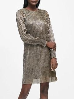 Metallic Boat-Neck Shift Dress
