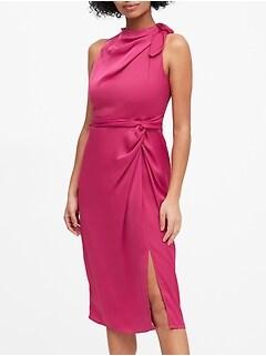 Satin Tie-Neck Sheath Dress