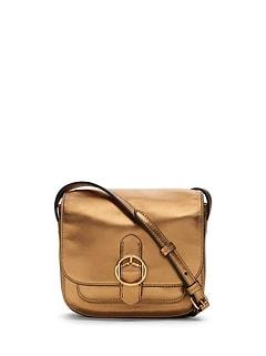 Mini Metallic Leather Saddle Bag