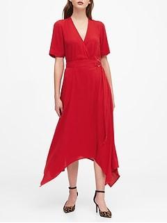Handkerchief-Hem Wrap Dress