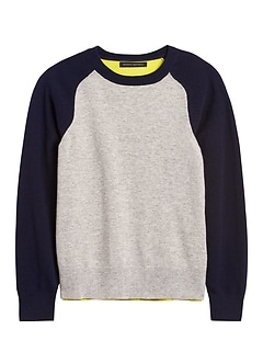 Italian Merino-Blend Raglan Sweater