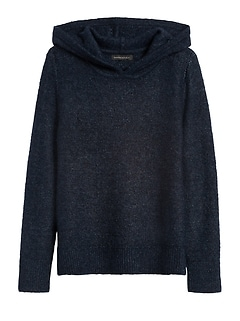 Merino-Blend Cropped Sweater Hoodie