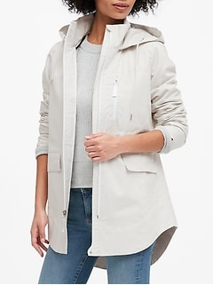 Petite Water-Resistant Linen-Cotton Rain Jacket